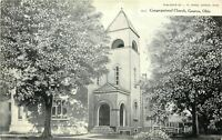 Geneva Ohio~Trees Give Shade to Congregational Church~Bell Tower~c1910 Postcard