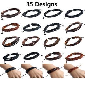 Genuine Leather Mens / Womens Surfer Bracelet Wristband Cuff Wrap, Black, Brown