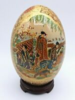 "Vintage Egg Hand Painted Porcelain Oriental Geisha Scene Raised Gold 6.5"""