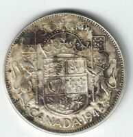 CANADA 1946 DESIGN 50 CENTS HALF DOLLAR KING GEORGE VI CANADIAN .800 SILVER COIN