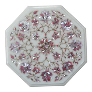 "12"" White Marble Table Top semi precious stones Inlay Work"