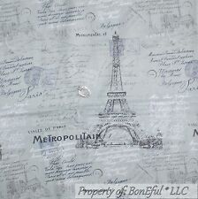 BonEful Fabric FQ Cotton Quilt Gray Eiffel Tower Word Victorian French Cottage L