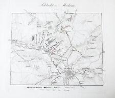 1840 Leipzig pueblos batalla Napoleón liberación guerras möckern grabado-Plan