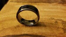 Triton 8mm Tungsten Carbide Ring Black Ceramic Inlay Size 8.75