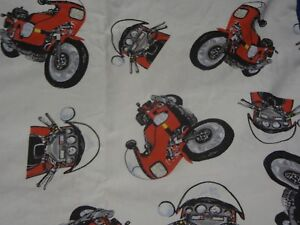 Vintage Retro Red Large Motorbike Themed Fabric Remnant (50cm x 50cm)