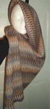 """MISSONI ITALY MOHAIR ACRYLIC BLEND WIDE INFINITY SCARF 72"""" x 26"""" Plum/Taupe/Blue"""