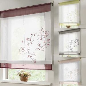 Bathroom Kitchen Window Screen Curtain Embroidered Lifting Roll Up