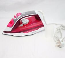 2600W Powerful Steam Iron Bust Of Steam Ceramic Coated Sole Plate Soft Grip PINK
