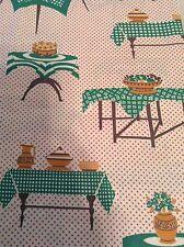 Vintage MCM 1950's Tables Dots Bowls Fruit Cotton Fabric Quilt Single Piece A
