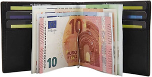 Kalbsleder Dollarclip Geldbörse Geldbeutel Portemonnaie Geldklammer Schwarz