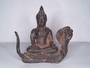 Antique Khmer style Bronze Buddha on a Naga