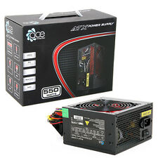 ACE 550W Black ATX Gaming PC PSU Power Supply 120mm Red