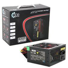 ACE 550W Black ATX Gaming PC PSU Power Supply 120mm Red