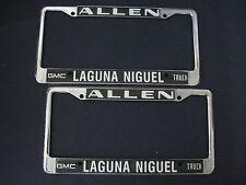 ALLEN GMC LAGUNA NIGUEL CA metal  License Plate Frame   Embossed  SET OF 2