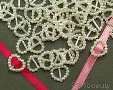 Selections of Heart Shape Pearl Ribbon Buckle Sliders - Gift Wrap, Party Invite