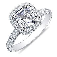 3.04 Ct Asscher Cut Micro Pave Halo Round Diamond 18K Engagement Ring H,VS1 EGL