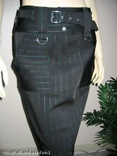 ITALIAN DESIGNER BLACK GREEN STRIPED SKIRT WITH POCKETS nwt S 4 6  MADE IN ITALY