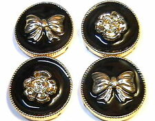 4 - 2 HOLE SLIDER OR SPACER BEADS GOLD TONE BLACK ENAMEL WITH ROSES & BOWS