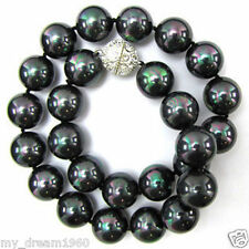 "Genuine 12mm Rainbow Black Sea South Shell Pearl Round Beads Necklace 18"" Jewel"