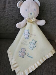 Carters Classics Hug A Bear Cuddly Security Blanket Lovey Squeeks Yellow