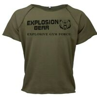 🐻 UK L. Explosive gym force-Gorilla wear/Golds style training top. Green. New.