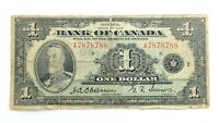 1935 Canada 1 One Dollar A7878788 Two Digit Circulated King George Banknote J783
