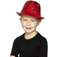 Boy's Red Light Up Sequin Trilby Fancy Dress Hats Childs Parties Dance Shows