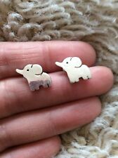 FREE GIFT BAG Silver Plated Elephant Animal Stud Earrings Costume Cute Jewellery