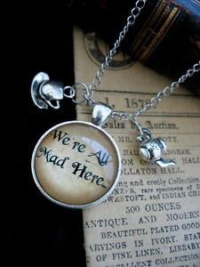 Alice in Wonderland Necklace Pendant Silver Tea Cup Pot Mad Drink Me Steampunk