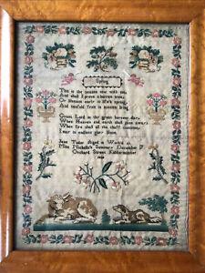Antique School Sampler 1838  Animals & Verse Silk On Linen Jane Tudor Aged 10 Vg