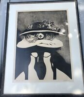 Beautiful Contemporary Signed/Lim. Ed. Nude Etching - Seated Female with Hat