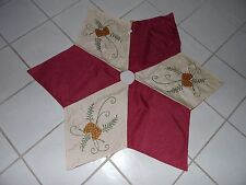 48 IN Burlap Like Burgundy Pine Cone Beaded Tree Skirt Christmas Decoration