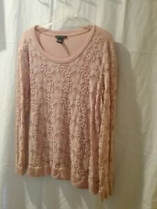 ADRIANNA PAPELL Peach Blush Top Lace Front  & Long Sleeve Size XL