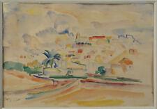 IBIZA AQUARELLE SIGNÉ E.CLARO circa 1930  vue : 15,5 x 22 cm BALÉARES ESPAGNE