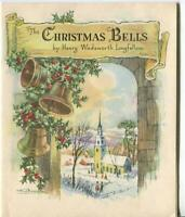 VINTAGE CHRISTMAS STORY CHRISTMAS BELLS CHURCH HENRY LONGFELLOW ANGELS ART CARD