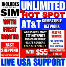 Hotspot Sim Card â� Unlimited * â� 30 Days Service â� At&T Nationwide Network