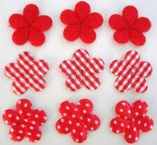 "60 Padded Felt/Satin Polka Dots/Gingham Check 1"" Flower Daisy Applique H348-Red"