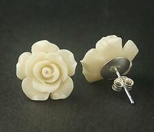 925 Sterling Silver Stud White Coral Flower Camellia Earrings Set