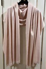 "BAJRA Handwoven Pashmina Cashmere Silk Light Pink Beaded Fringe Shawl 28"" x 82"""