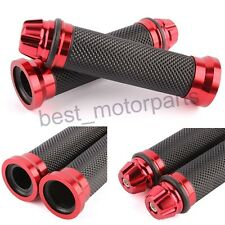Red Motorcycle Hand Grips Rubber Gel Handle Bar Grips For 2014-2017 Honda GROM