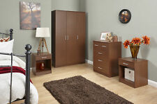 Panama 4 Piece Walnut Bedroom Set - 3 Door Wardrobe, Chest & 2 Bedside Tables
