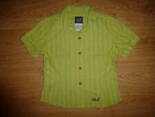 Women's Jack Wolfskin Green Stripe Short Sleeve Cotton Shirt Top Size S UK 8/ P