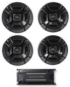 """ALPINE KTA-30FW 600 Watt 4-Channel Amplifier Amp+(4) Polk Audio 6.5"""" Speakers"""