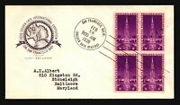US SC# 852 FDC / Farnam Cachet / Block of 4 - Z20097