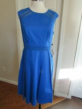 NWT Adrianna Papell Women's Blue Open lace Trim Fit & Flare Dress Size 14 $120
