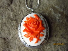 ORANGE ROSE ON WHITE CAMEO SILVER PLATED LOCKET - UNIQUE - WEDDING