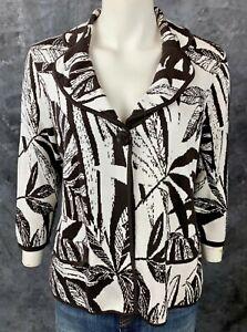 Chicos Silk & Cotton Blend Brown & White Cardigan Sweater Jacket sz 2 M/L (9065)