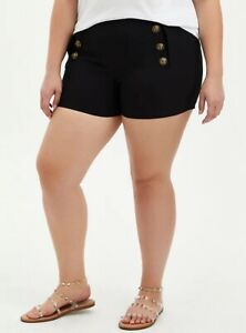 Torrid Women's Black Button High Rise Shorts NWT Size 18