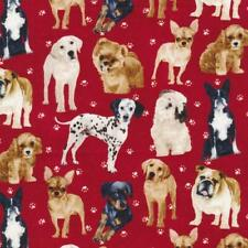 Fat Quarter My Pet Family Dogs On Red 100%Cotton Quilting Fabric