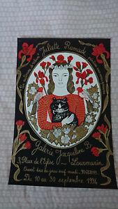 Juliette Ramade silk screen poster / vintage cat poster